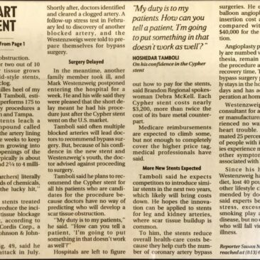 Drug Coated Heart Stents - Tampa Tribune - May 3 2003